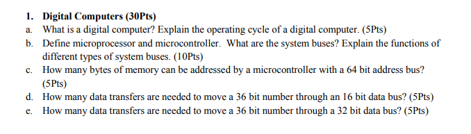 Solved: 1  A  B  Digital Computers (30Pts) What Is A Digit