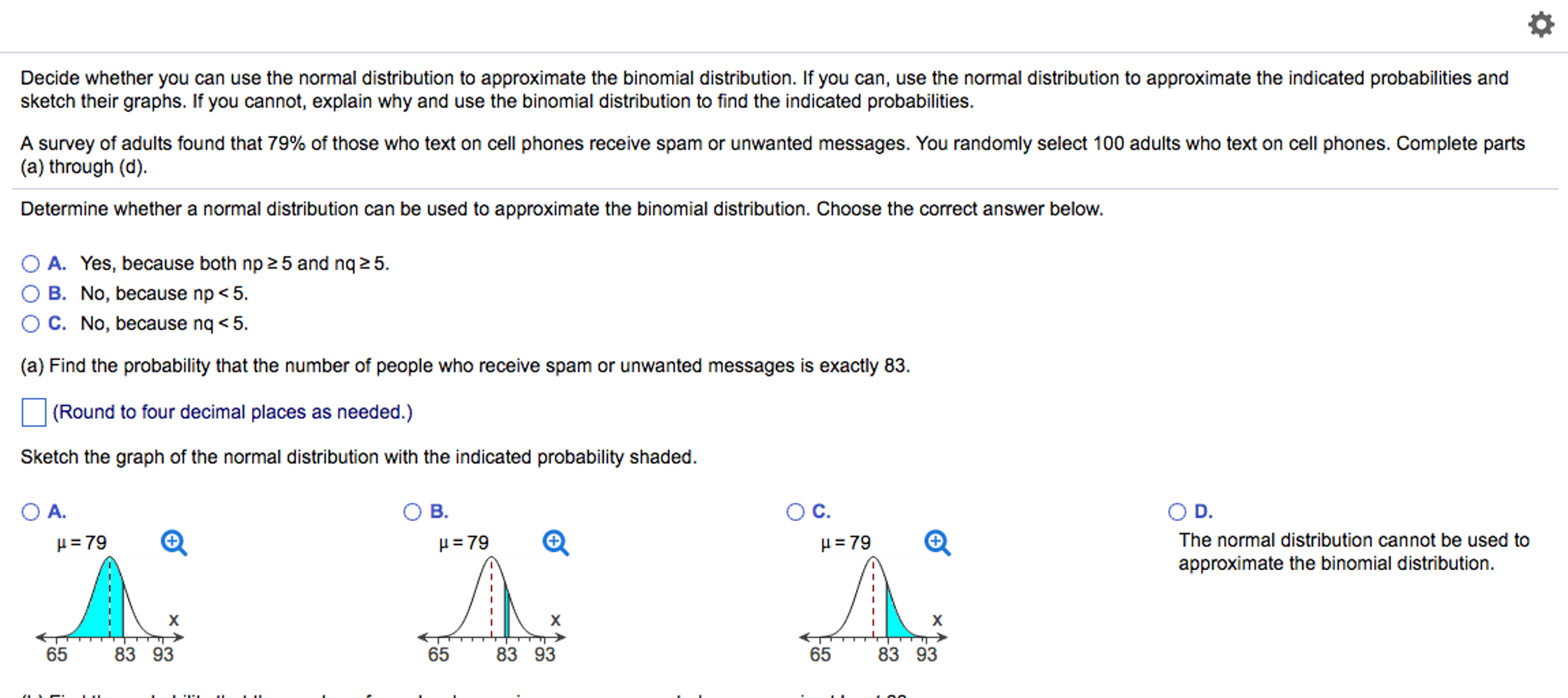 Solved Decide Whether You Can Use The Normal Distribution -5968