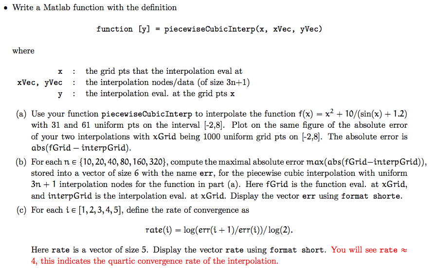 Solved: » Write A Matlab Function With The Definition Func