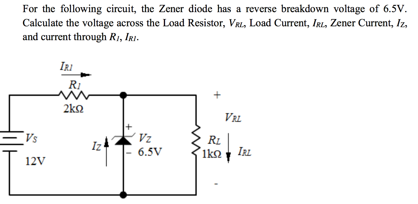 Solved for the following circuit the zener diode has a r for the following circuit the zener diode has a reverse breakdown voltage of 65v ccuart Choice Image