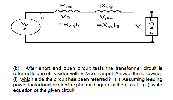 Reap jXeap v| Vp =Reals =X.qls (b) After short and open circuit tests the transformer circuit is referred to one of its sides with Vp/a as is input. Answerthe following: (i) which side the circuit has been referred? (ii) Assuming leading powerfactorload, sketch the phasor diagram of the circuit. (ii) write equation of the given circuit.
