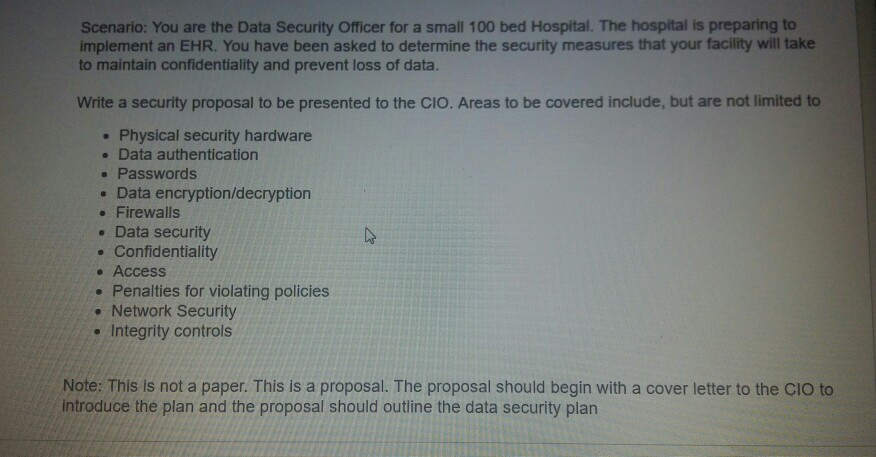 Question: Scenario: You Are The Data Security Officer For A Small 100 Bed  Hospital. The Hospital Is Prepari.
