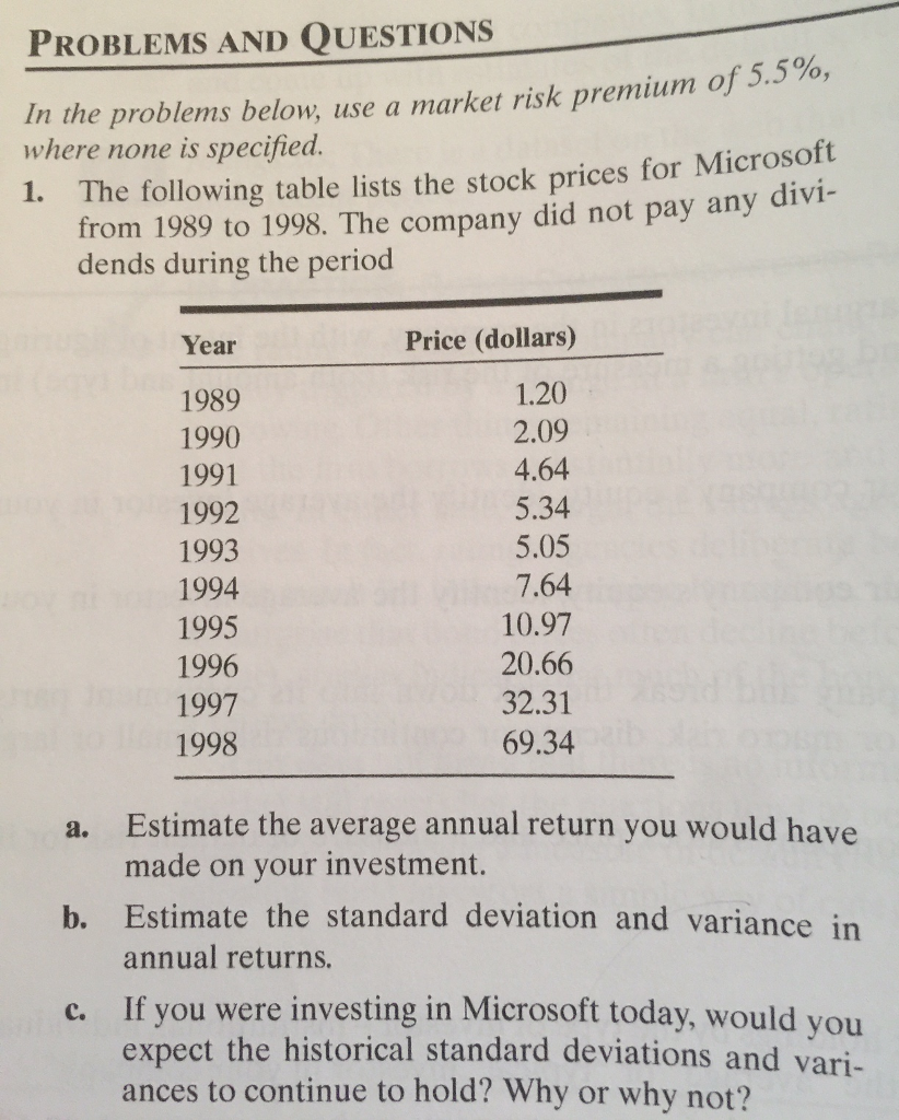 Solved: In The Problems Below, Use A Market Risk Premium O