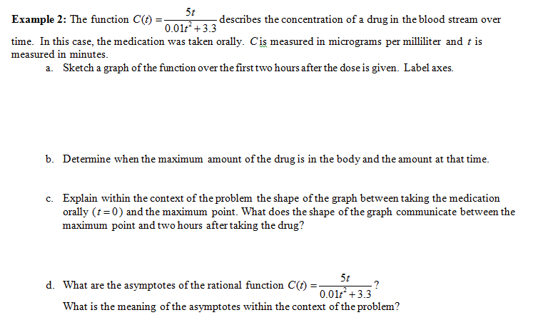 solved 5t example 2 the function c t describes the conc