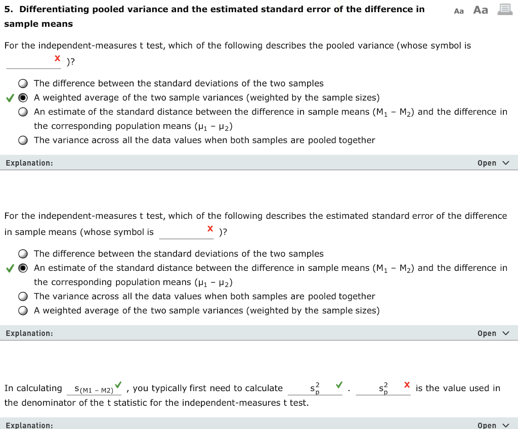 Aa Aa 5 Differentiating Pooled Variance And The E Chegg