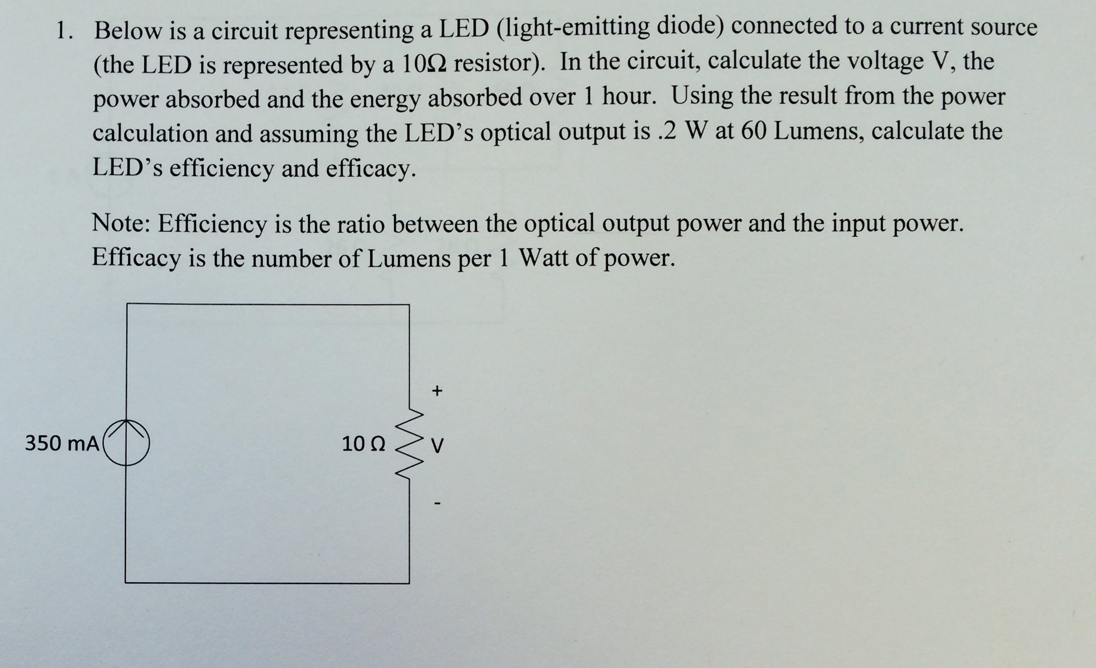 Solved Below Is A Circuit Representing Led Light Emitt Energy Calculator On Power And Series Resistor Bhjkjhvg