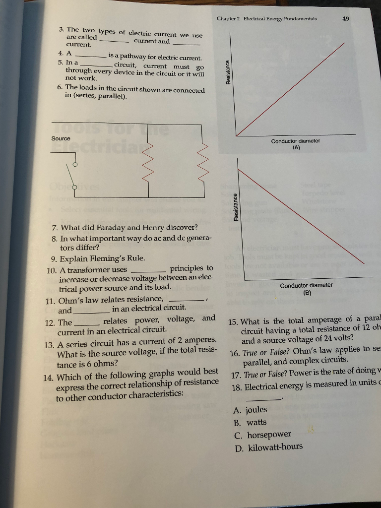 Solved: Chapter 2 Electrical Energy Fundamentals 49 3. The ...
