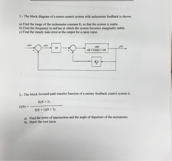Solved the block diagram of a motor control system with t question the block diagram of a motor control system with tachometer feedback is shown afind the range o ccuart Image collections