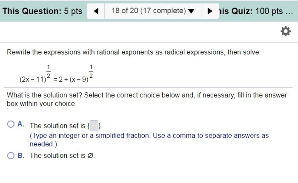 Rational exponents.