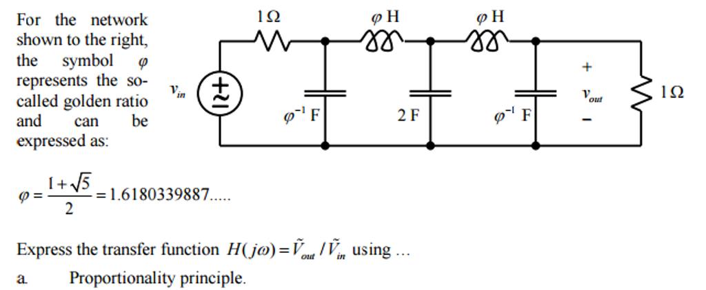 Solved For The Network Shown To The Right The Symbol Phi