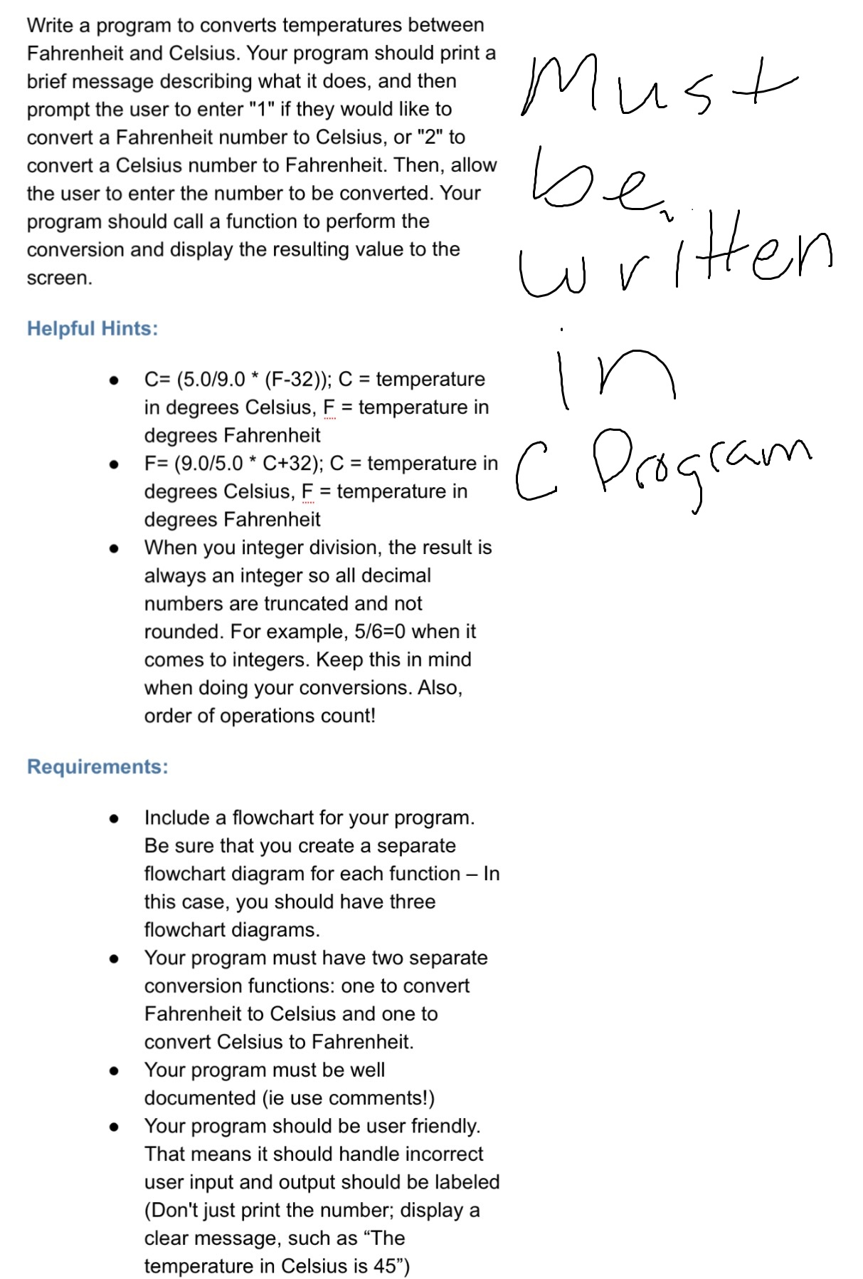 Solved Write A Program To Converts Temperatures Between F
