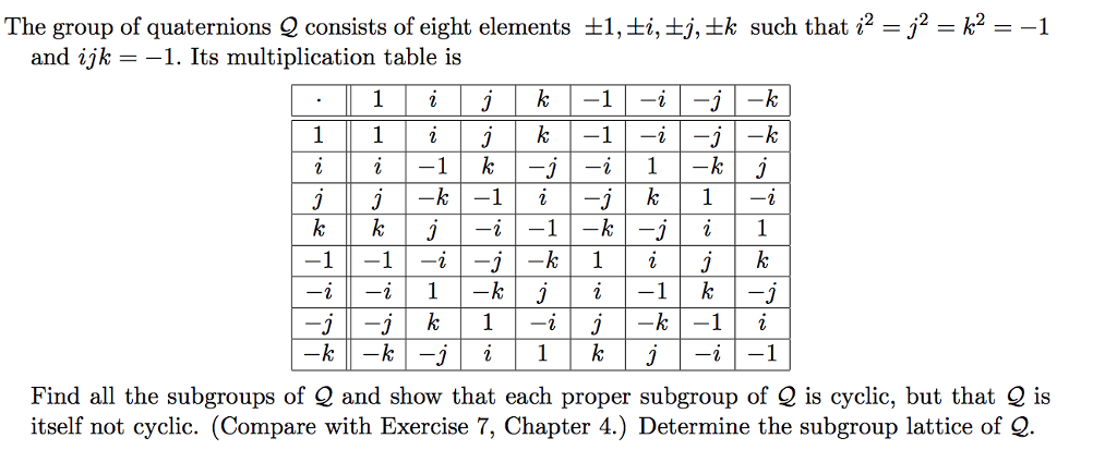 Solved The Group Of Quaternions Q Consists Of Eight Eleme