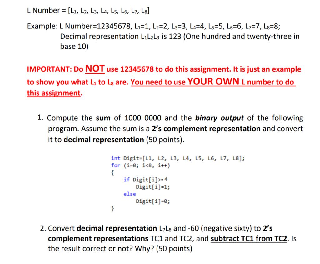 Solved: L Number = [L1, L2, L3, L, Ls, L6,L7, L8] Example ...