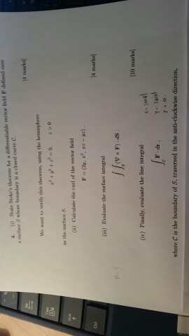 State for a differentiable we tor field F over a S