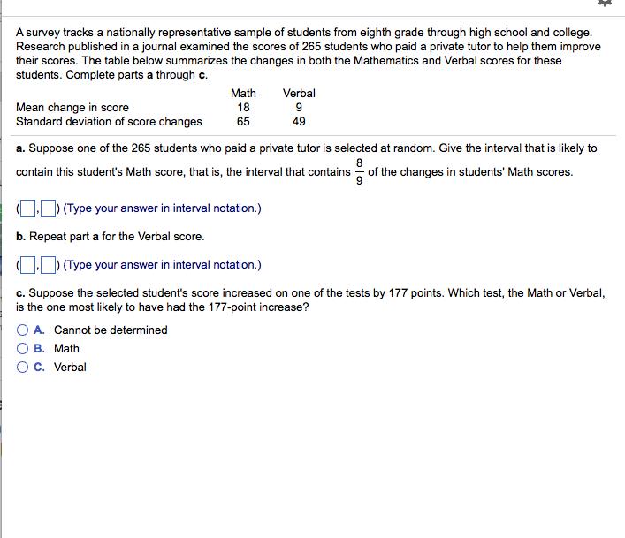 Solved: A Survey Tracks A Nationally Representative Sample