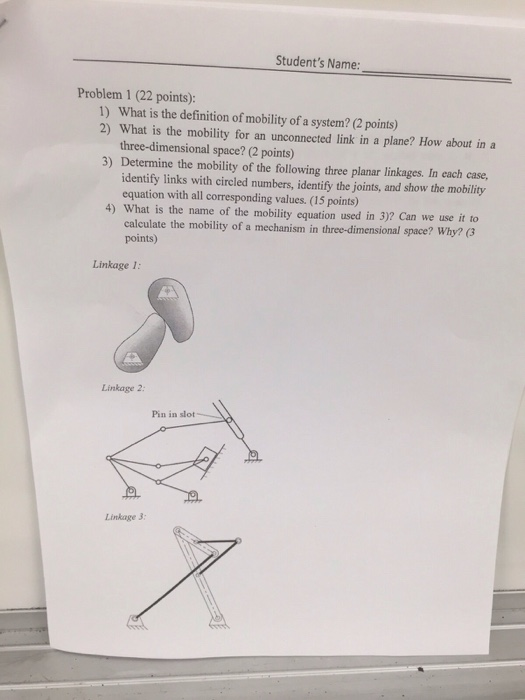 Solved What Is The Definition Of Mobility Of A System Wh