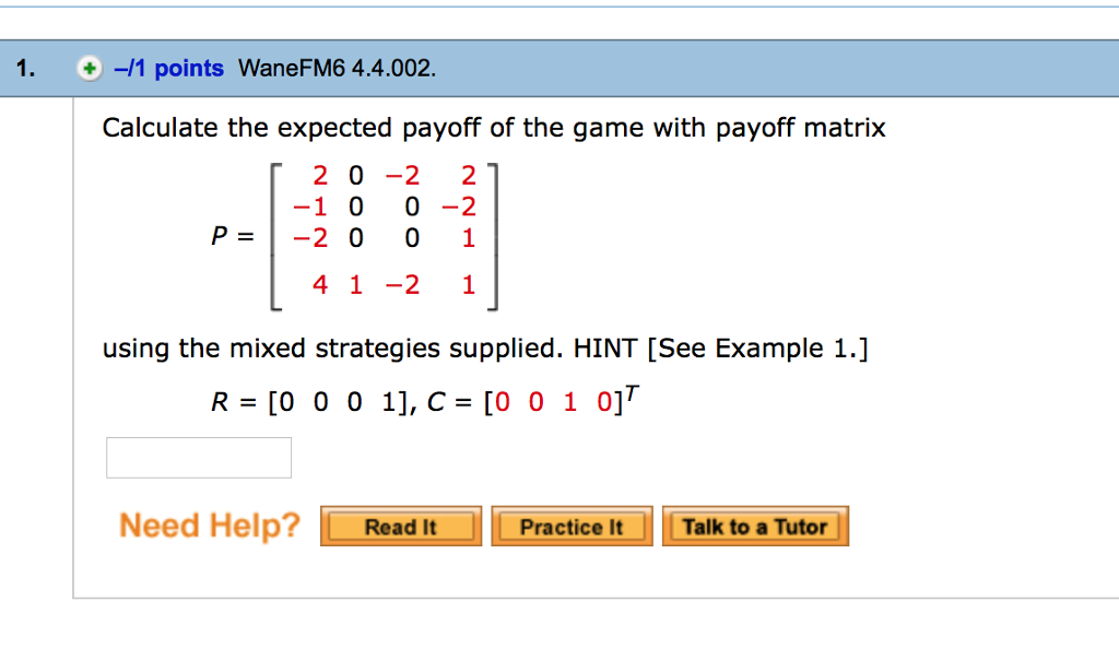 Algebra archive february 16 2017 chegg 1 points wanefm6 44002 calculate the expected payoff of the game with fandeluxe Gallery
