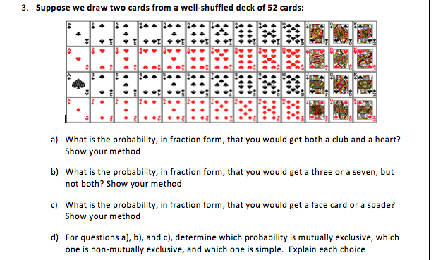 Solved: Suppose We Draw Two Cards From A Well-shuffled Dec