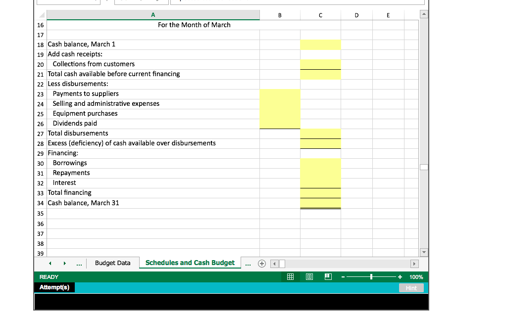 solved prepare a cash budget with supporting cash collect