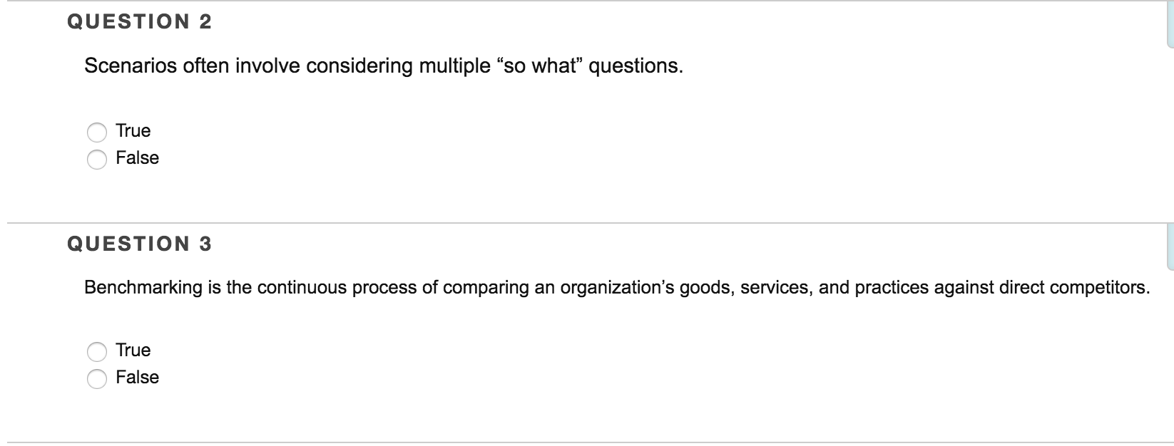 operations management archive 07 2016 chegg com scenarios often involve considering multiple so what questions true false benchmarking is the continuous process of comparing an organization s goods