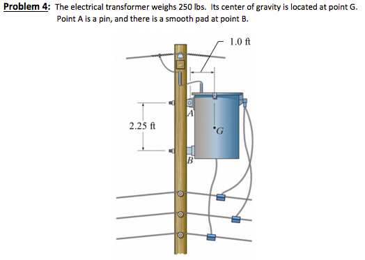 problem 4: he electrical transformer weighs 250 lbs  its center of gravity  is located