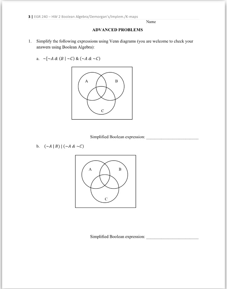 Simplify the following expressions using venn diag chegg question simplify the following expressions using venn diagrams you are welcome to check your answers usi ccuart Gallery