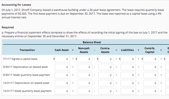 Solved Accounting For Leases On July Shroff Comp - Capital lease agreement template