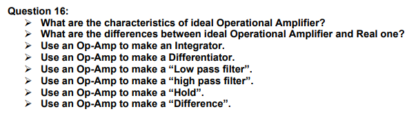 Solved: Question 16: What Are The Characteristics Of Ideal