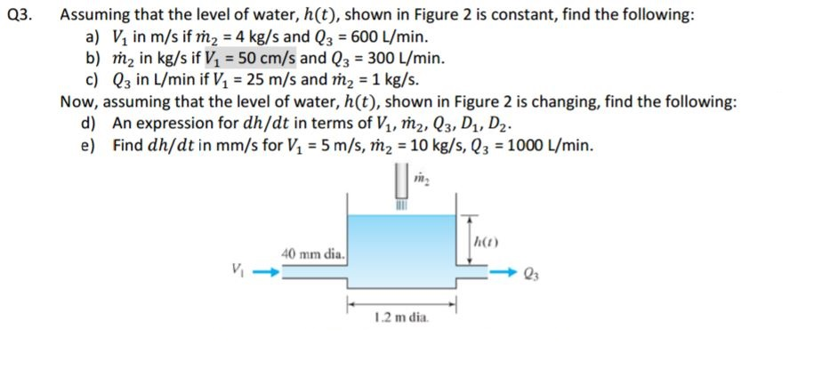 Questionuming That The Level Of Water Ht Shown In Figure 2 Is Constant Find The Following A V_