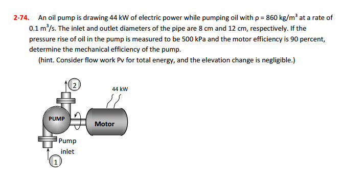 Solved: 2-74  An Oil Pump Is Drawing 44 KW Of Electric Pow