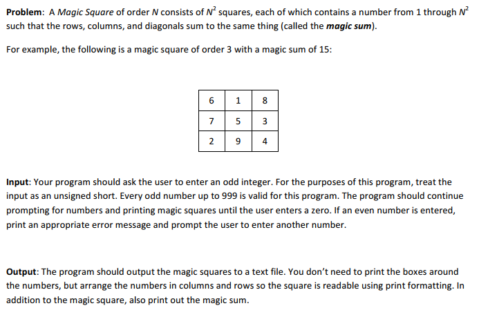 Solved: Magic Squares Objective: Implement A Non-trivial A