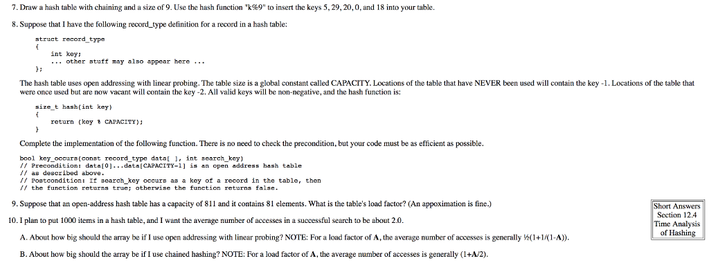 Solved: 7, Draw A Hash Table With Chaining And A Size Of 9 ...