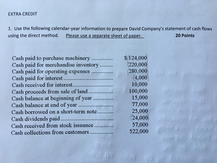 cash flow statement direct method questions and answers pdf