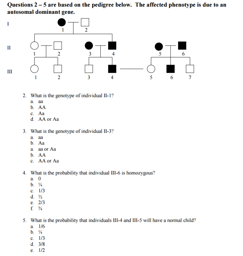 Solved Questions 2 5 Are Based On The Pedigree Below The