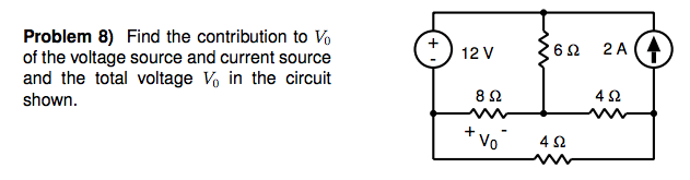 Find the contribution to V0 of the voltage source
