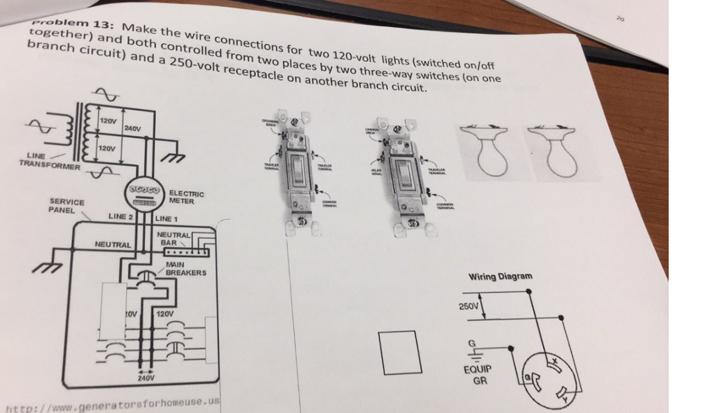 Solved: Make The Wire Connections For Two 120-volt Lights ...