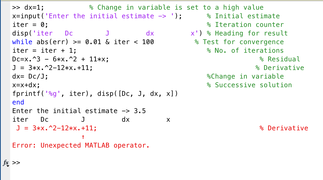 Solved: Can Someone Explain Why I Get This Error In Matlab
