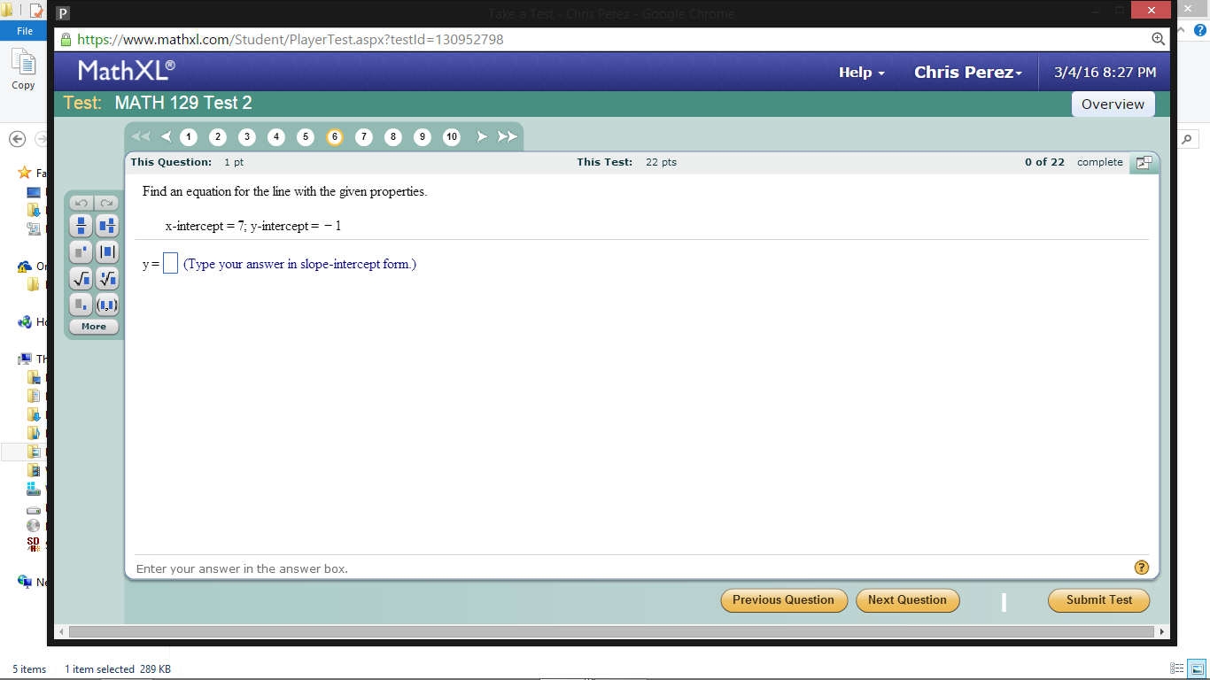 Solved: Https:// 130952798 MathXL Copy Test: MATH 129 Test ...
