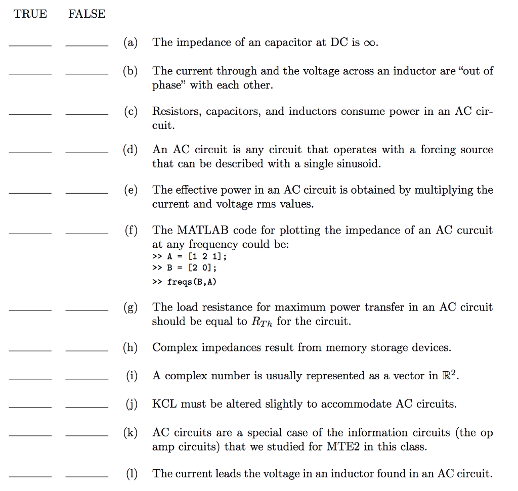 Solved A The Impedance Of An Capacitor At Dc Is Infinit And Ac Circuits Question Infinity B Current Through Voltage Acro