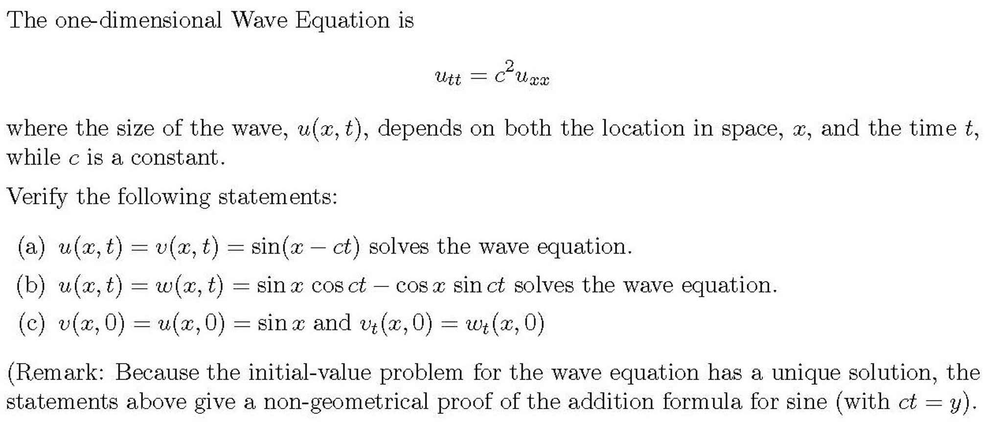 Solved: The One-dimensional Wave Equation Is U_tt = C^2u_x