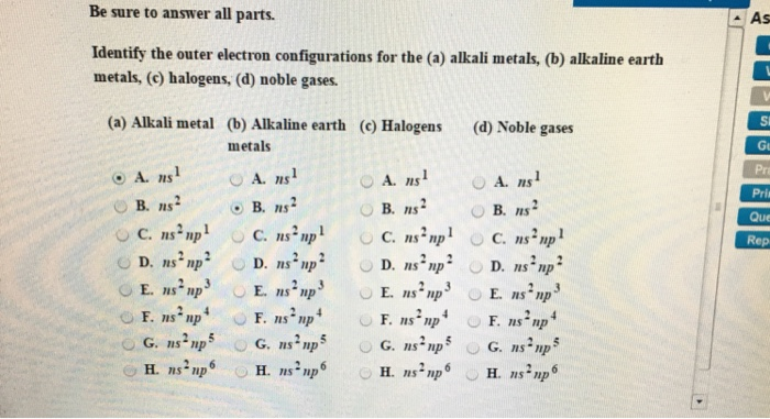 Solved Identify The Outer Electron Configurations For The Chegg Com