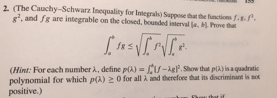 schwarz inequality for integrals
