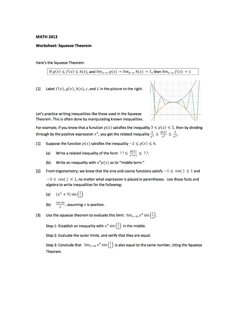 worksheet Evaluating Limits Worksheet solved math 2413 worksheet squeeze theorem heres the sq if gx