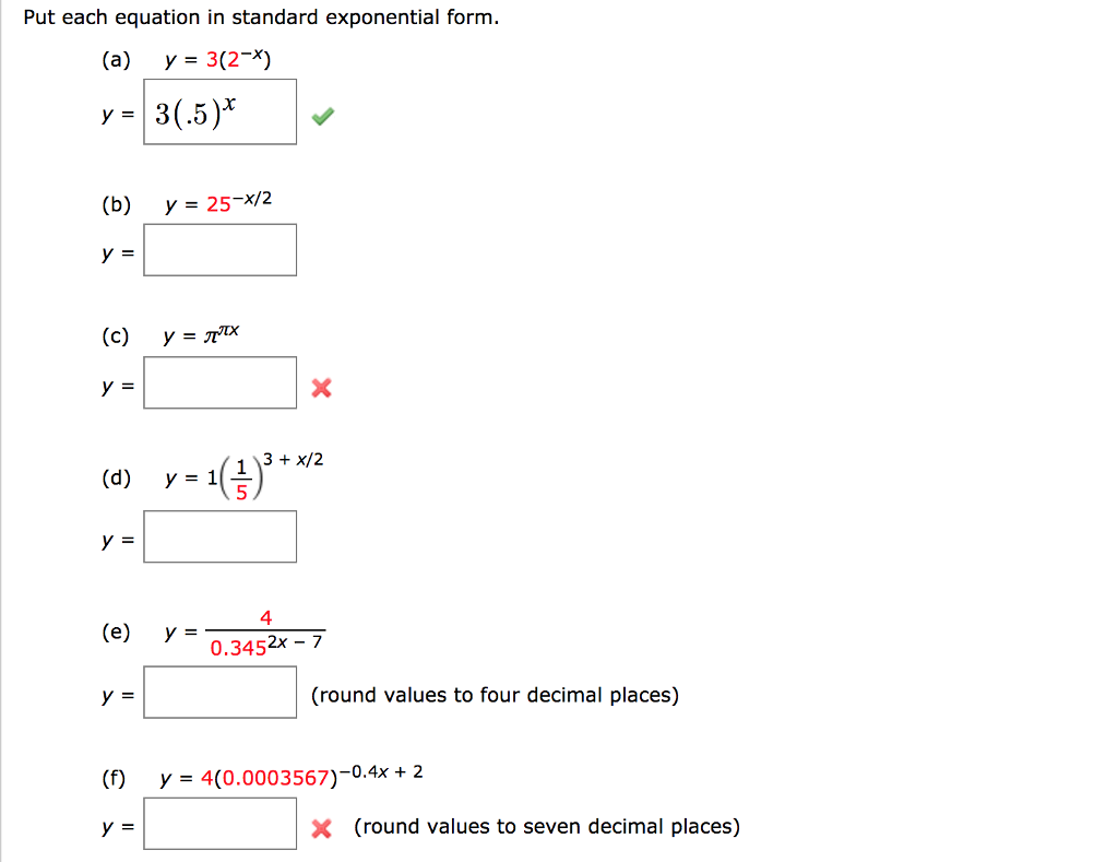 Solved put each equation in standard exponential form a put each equation in standard exponential form a y32 falaconquin