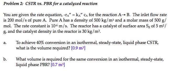 Problem 2 Cstr Vs Pbr For A Catalyzed Reaction Y