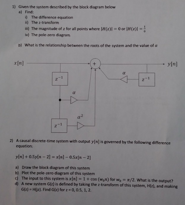 Solved: 1) Given The System Described By The Block Diagram... | Chegg.comChegg