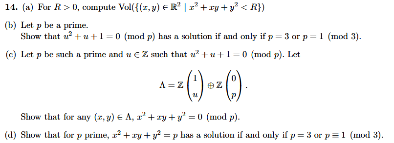 Solved: 14  (a) For R>0 , Compute Vol({(z, Yje R2 1 Z? +xy