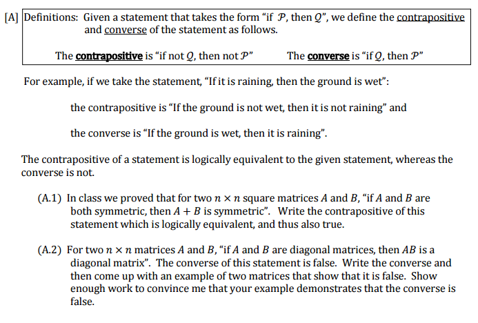 Solved A1 Write The Contrapositive Of This Statement Whi
