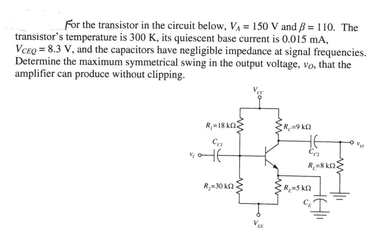 For the transistor in the circuit below, V_A = 150