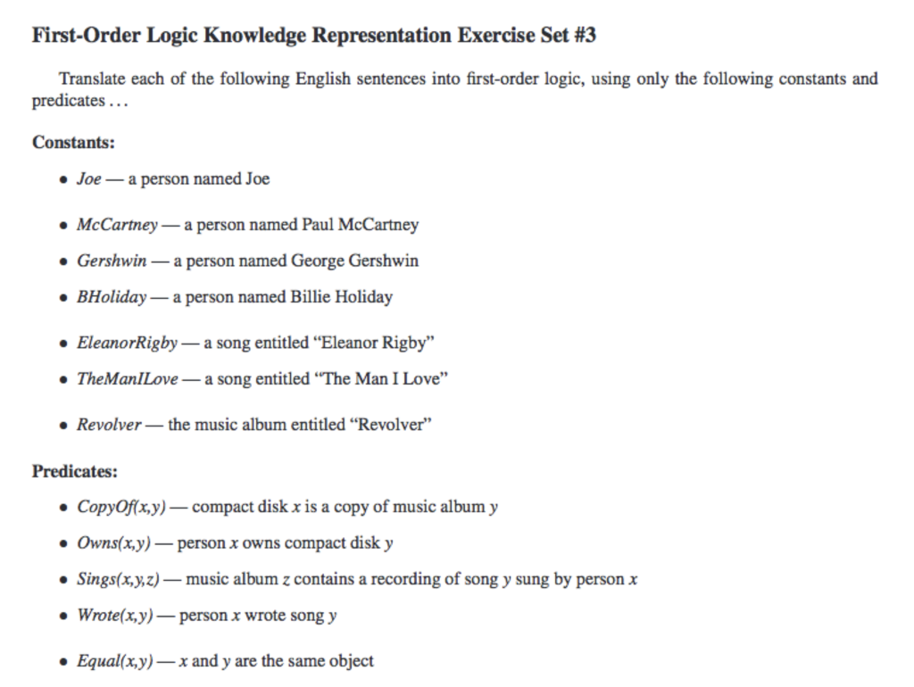 Solved: First-Order Logic Knowledge Representation Exercis